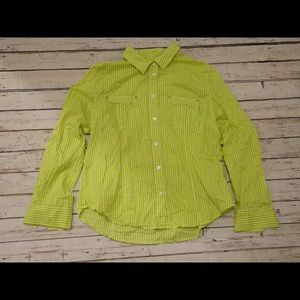 Michael Kors Gingham Button Down Shirt green/white